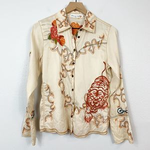 Johnny Was Cream Embroidered Silk Blouse
